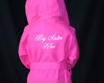 PERSONALIZED Childrens White, Aqua, or Hot Pink Hooded Robe Perfect for Bath Time, Flower Girls, and Swim and Dance Cover Up