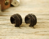 Feather Hoop Earrings Hand Carved Wooden Eagle Feather Post Earrings Tribal Style  - PE029 W ALL