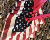 Gift Tags, Qty 4 ~ Hand-Glittered American Flag Gift Tags with Ribbon, Stars and Stripes, USA, Patriotic Party Decor