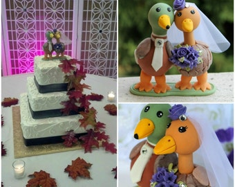 Love bird duck cake topper in purple with touching heads and stand
