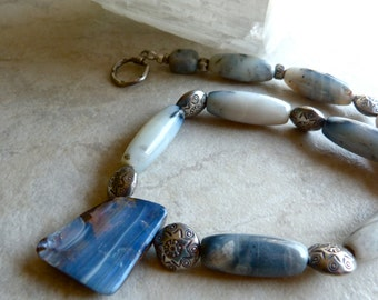 Blue Boulder Opal Pendant and Thai Silver Sunburst Beads Large Stone Elegant Necklace