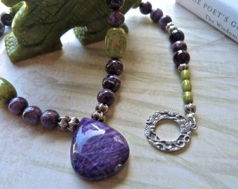 Large Rare Stone Charoite, Sugilite and Atlantisite Artisan Statement Necklace and Earrings