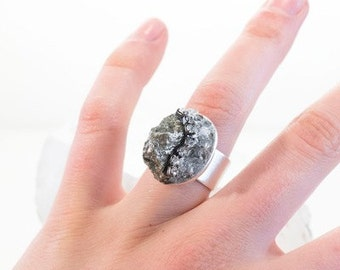 Statement Ring-Multi-Mineral- Silver and Black- Quartz, Pyrite and Rhinestone Collage Cluster -Ring