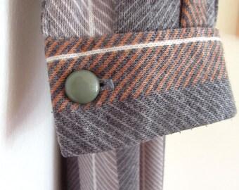 Vintage Grey and Brown Stripe Dress - Longsleeve Tie Neck Detail 1970s- Jersey