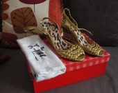 Miss L Fire 1950s 1960s Gold Wicker Wedge Shoes UK3 4 US6 6.5 7 EU36 37