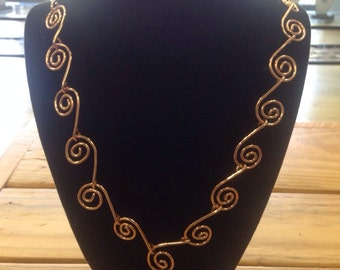 Swirled Copper Wire Linked Necklace