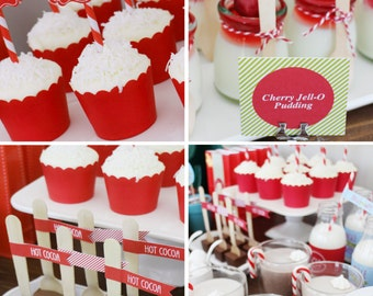 HOT COCOA BAR Printable Set - Christmas - Jingle All The Way - Includes Cupcake Toppers, Bunting, Candy Wrappers, Gift Tags and more