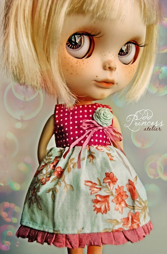 15% Off Every Day Is A HOLIDAY Romantic Bohemian Ooak Dress For BLYTHE By Odd Princess Atelier, Vintage Style, Hand Stitched, Special Dress