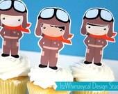 Aviator Airplane Pilot III Die Cut Cupcake Topper (One Dozen)