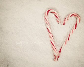 Candy Cane Heart Fine Art Photography Snow Holiday Christmas Peppermint Red White Gray Food Kitchen Livingroom Festive Home Decor Wall Art