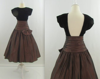 On Sale Backless Prom Dress - Vintage 1980s Does 50s Full Skirt Party Dress in Black & Brown- Small by Joseph Ribkoff