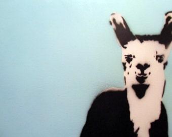 Stencil Art - llama - Blue background with llama spray painted on canvas