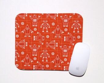 Robot Mouse Pad / Burnt Orange Robot Factory Organic / Office Home Decor / Robert Kaufman