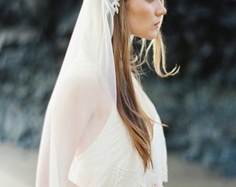 Cathedral Veil with Rhinestone Floral Beading,  Wedding Veil, Bridal Veil, English Net, Soft Veil MADE TO ORDER- Style 2814