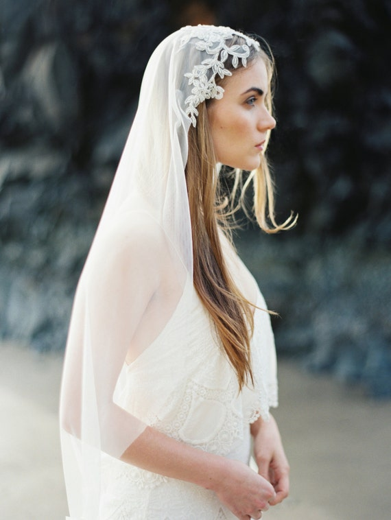 Cathedral Veil with Rhinestone Floral Beading Wedding Veil