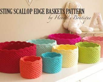 Crochet Basket Pattern - Nesting Scallop Edge Baskets - PDF