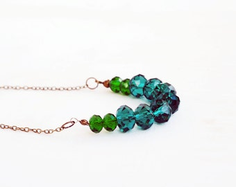 Emerald Green Necklace,Teal Faceted Glass Necklace