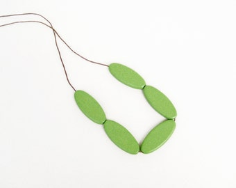 Wood Green Necklace,  Ellipse Geometric Necklace, Green Wooden Necklace, Chunky Wood Necklace