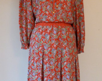 80's Diane Freis Gypsy Red Rosette Paisley Floral Print Flutter Collar Dress L XL