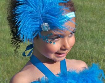 READY TO SHIP: Stretchy Feather Headband - Turquoise Blue - Blue Macaw Bird Costume Accessory - Jungle Jewel - Fits toddler to adult