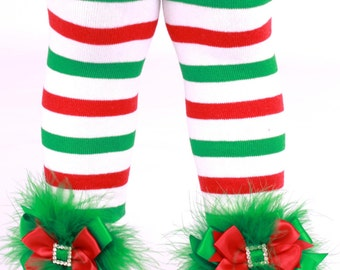 READY TO SHIP: Leg Warmers - Red, Green and White Striped - Elegant Elf Holiday Outfit Accessory - One Size - Cutie Patootie Designz