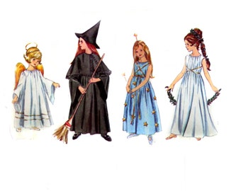 Costume Sewing Pattern - Vintage -Child -  Size Small 4-6- Vintage Simplicity 6201- Witch Costume - Fairy Costume - Angel - Greek Goddess