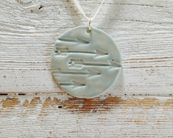 Light Blue Ceramic Arrow Pendant, Hunger Games Inspired, Katniss, Fall, Rustic Jewelry, Hipster, Industrial, Ceramic Jewelry