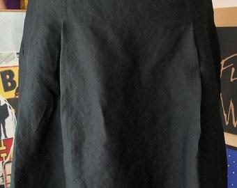 Vintage 1990s Black White Skirt Floral Stiched Bottom Hem Bohemian Hipster Hippie Skirt Sz M