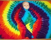 Tie dye Baby Blanket, Cotton Fleece Receiving Baby Blanket, Rainbow Tie Dye Blanket