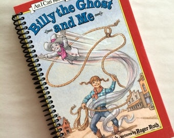 QUIRKY Re-purposed Book notebook journal Spiral Binding recycled Billy the Ghost and Me