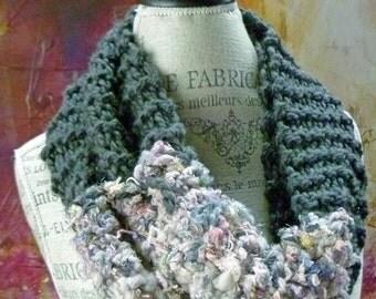 Gray Infinity Scarf Cowl Hand Spun Art Yarn Organic Boho