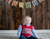 HAPPY BIRTHDAY Burlap Banner with Felt Letters