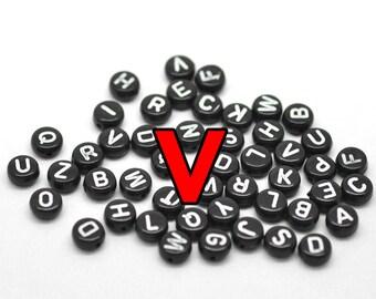 3000 pcs Black Alphabet Beads Letter V, Black 7mm STORE CLOSING DESTASH