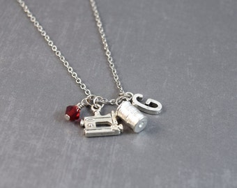 Sewing Necklace - Sewing Machine Necklace - Seamstress Gift - Quilter Jewelry -  Sewing Jewelry - Personalized Birthstone Necklace