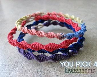 Spiral Bracelets, hemp bracelets, friendship bracelets, set of 4 bracelets