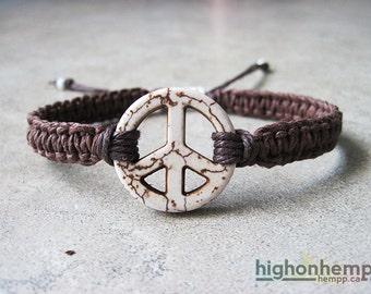 Peace Sign Bracelet, Hippie Jewelry, Hemp bracelet