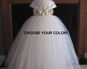 Ivory Flower Girl Tutu Dress with Cap Sleeves..Toddler Tutu Dress..Girl Tutu Dress..Girl Wedding Dress..Girl Birthday Dress..1T to 8 y.o..