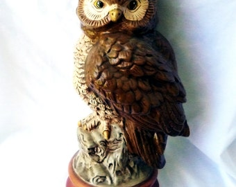 1970's Vintage Owl Painted Ceramic and Wise