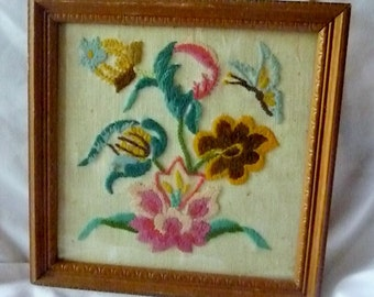 Vintage Hand Embroidered Framed Flowers Butterfly Piece