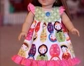 """Matryoshka - Nesting doll  Flutter  Dress for an 18"""" Doll"""