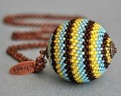 Big Ball Pendant - Beaded Bead Necklace - Bead Pendant