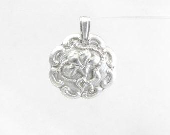 Silver Iris Flower Pendant , Iris Pendant Fine silver , Pure silver Floral pendant , Flower necklace , .999 Silver , Minimalist