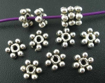 Daisy Spacer Beads Antique Silver - 6mm - 50pcs - Ships IMMEDIATELY from California - B1060