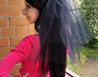 Halloween party Veil 2-tier black. Gothic bride costume. Halloween costume. Addams costume, dead bride costume, gothic party,  gothic veil