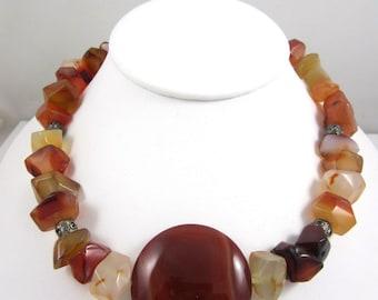 Gorgeous Vintage Carnelian Stones Necklace