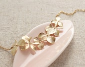 Orchid Medley Floral Necklace, Handmade Gold Jewelry, Wedding, Bridesmaids Jewelry, Flower Girl Necklace