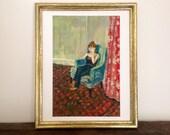 Sitting Woman Art Print - Vintage Red Floral Room