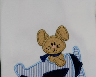 Bunny Pilot Shirt / Personalized / Easter / Airplane / Rabbit