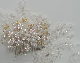 Gold Bridal Comb, Crystal Wedding Headpiece, Swarovski Crystal, Freshwater Pearl Bridal Comb- JESSICA-CUSTOM ORDER