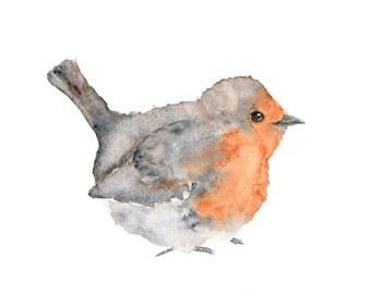 Bird art, animal painting, nature painting, watercolor painting,  bird print, birds, watercolor animals, english robin, illustration, 7X5